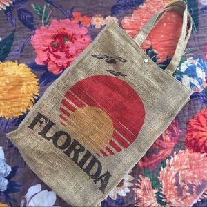 Vintage Florida Burlap Tote